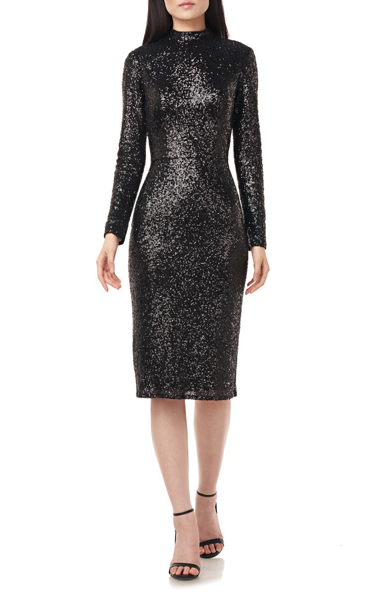 LOVE BY THEIA Sequin Mock Neck Long Sleeve Cocktail Dress, Main, color, 001
