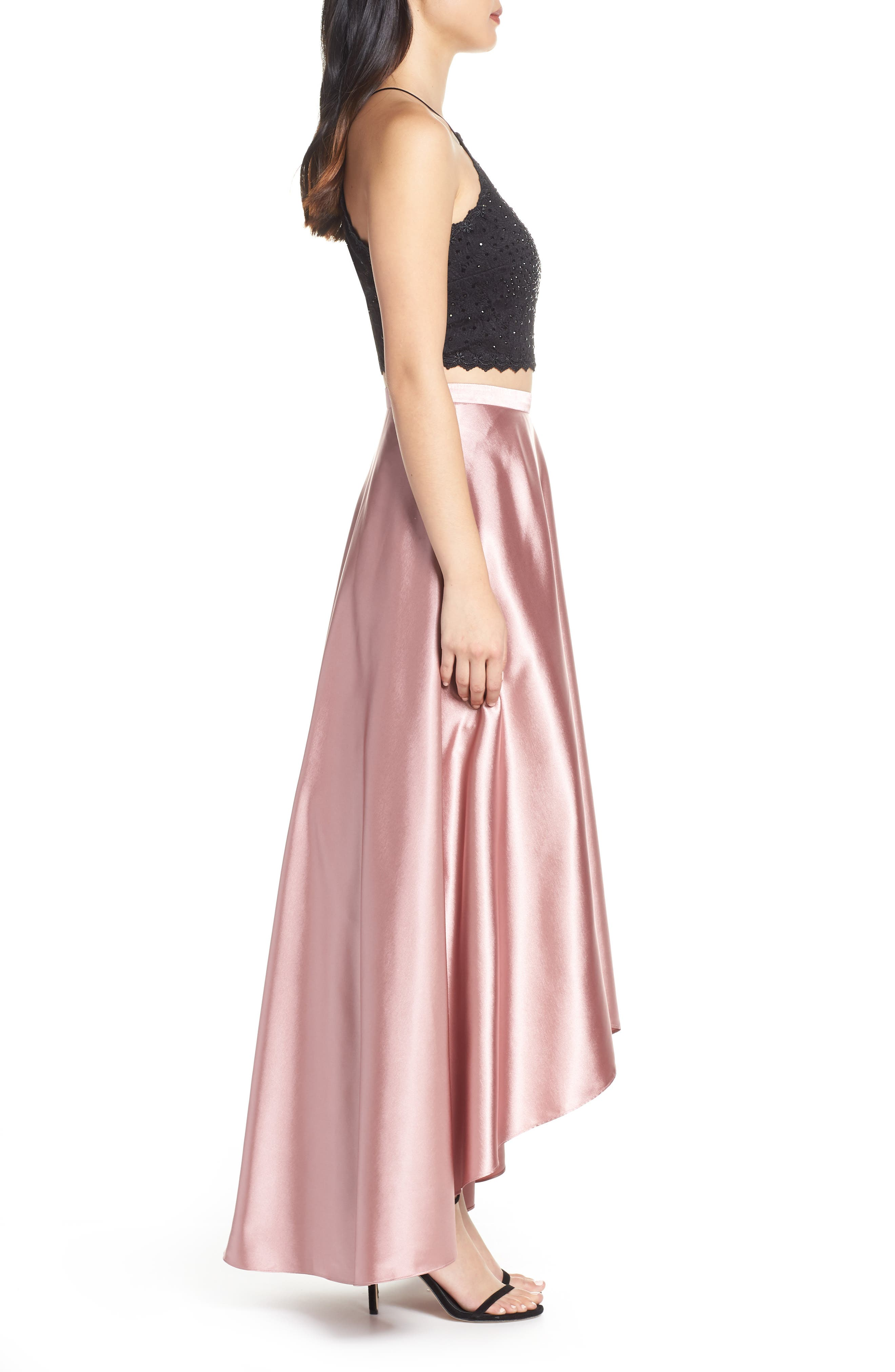 ,                             Glitter Lace & Satin High/Low Two-Piece Evening Dress,                             Alternate thumbnail 4, color,                             ROSE/ BLACK