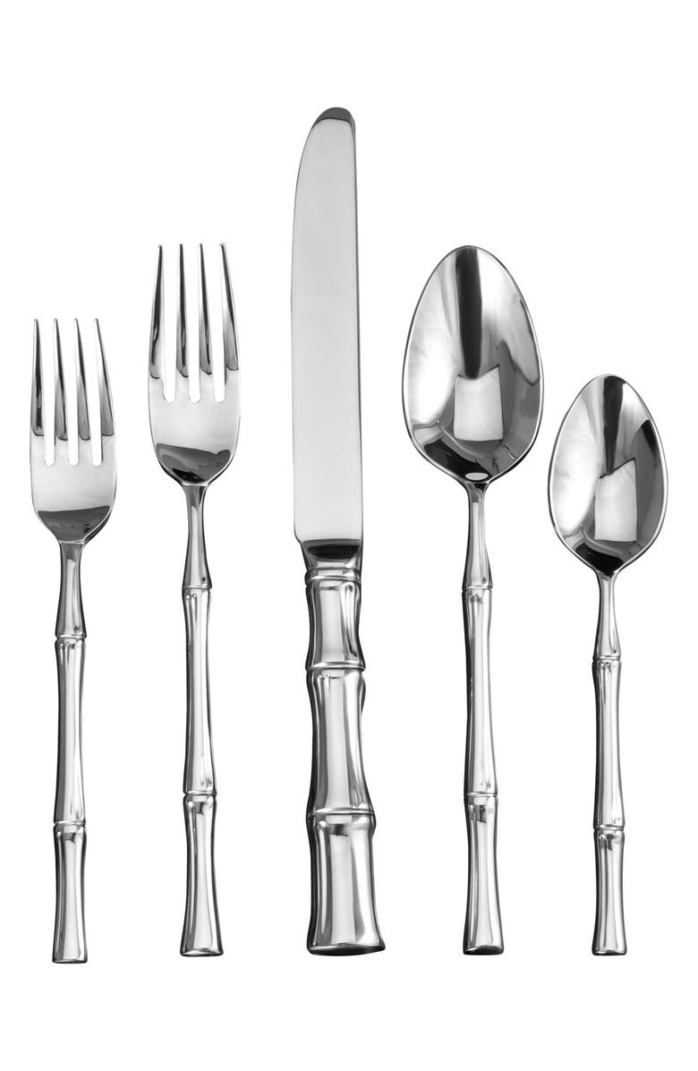 RICCI Bamboo 5-Piece Place Setting, Main, color, METALLIC SILVER