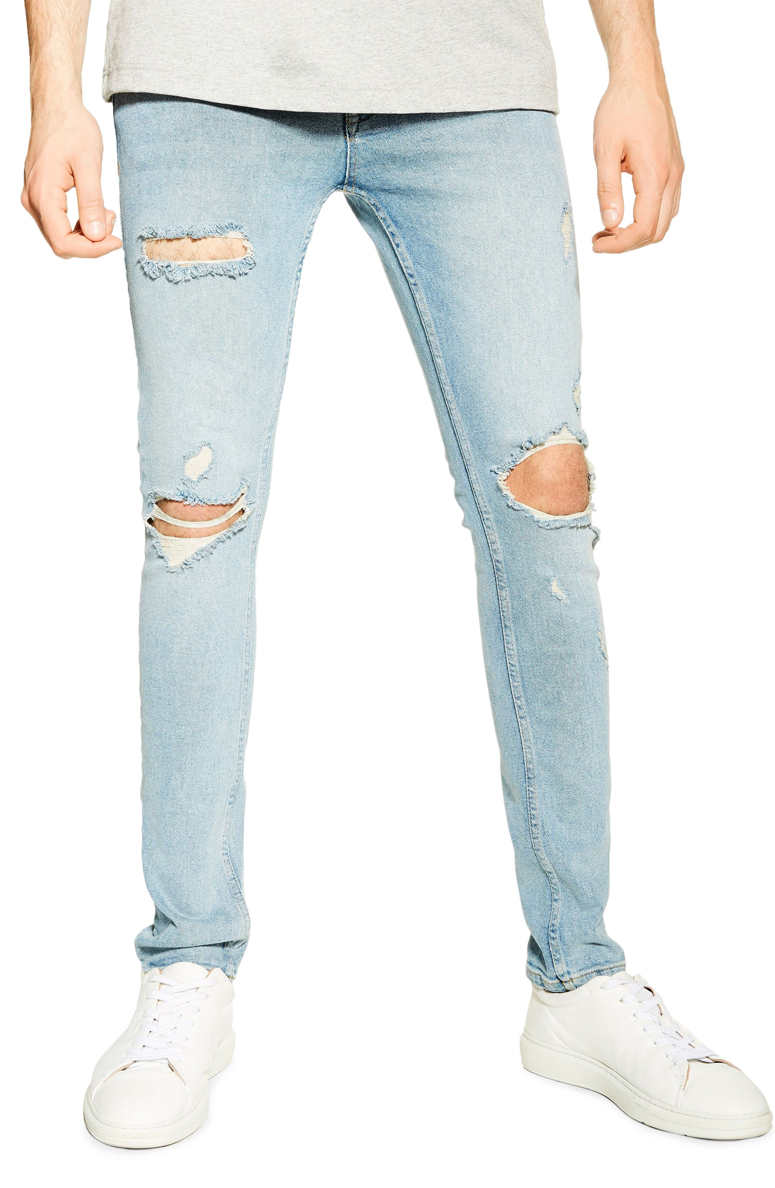 Ripped Stretch Skinny Fit Jeans, Main, color, BLUE