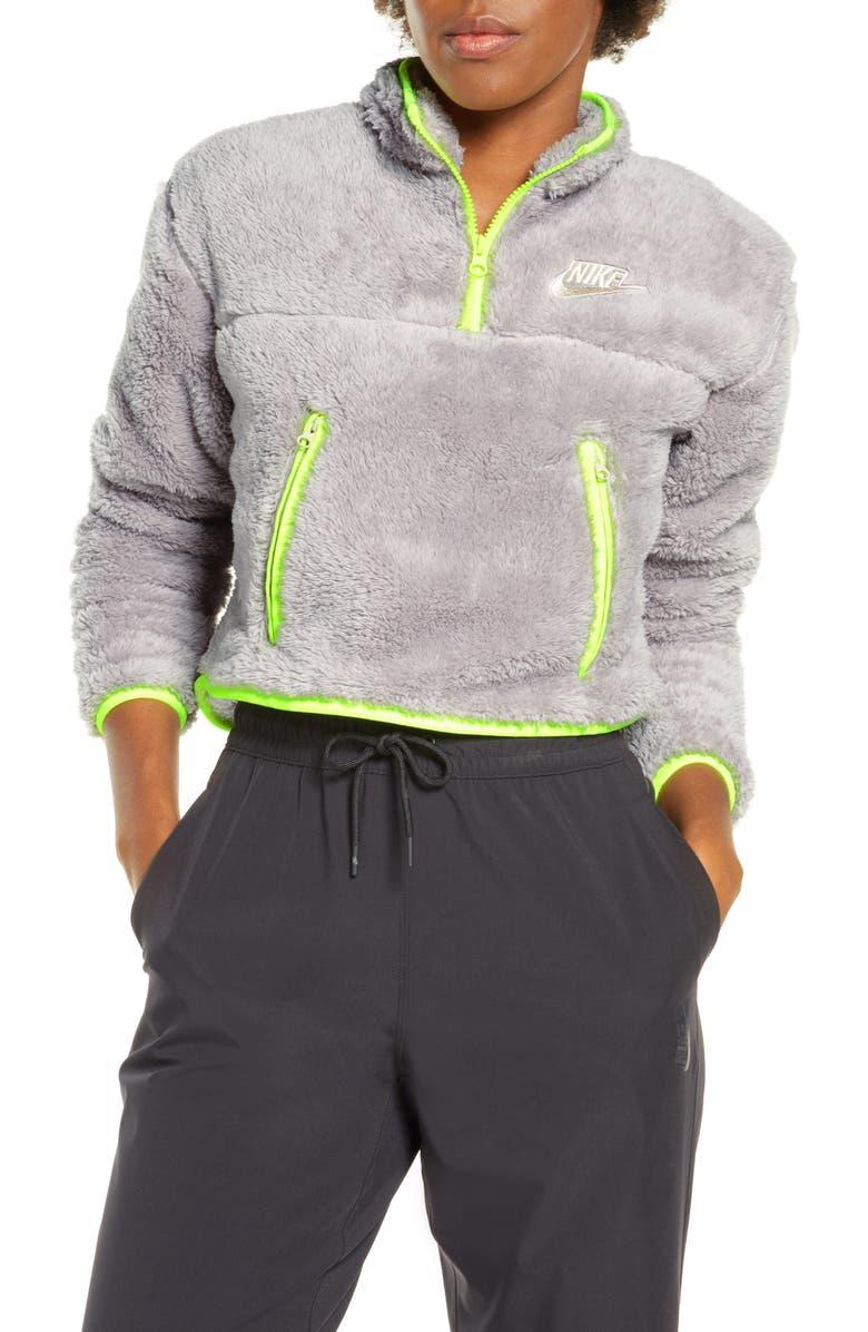 NIKE Sportswear Fleece Quarter Zip Crop Pullover, Main, color, PUMICE/ VOLT/ DESERT SAND