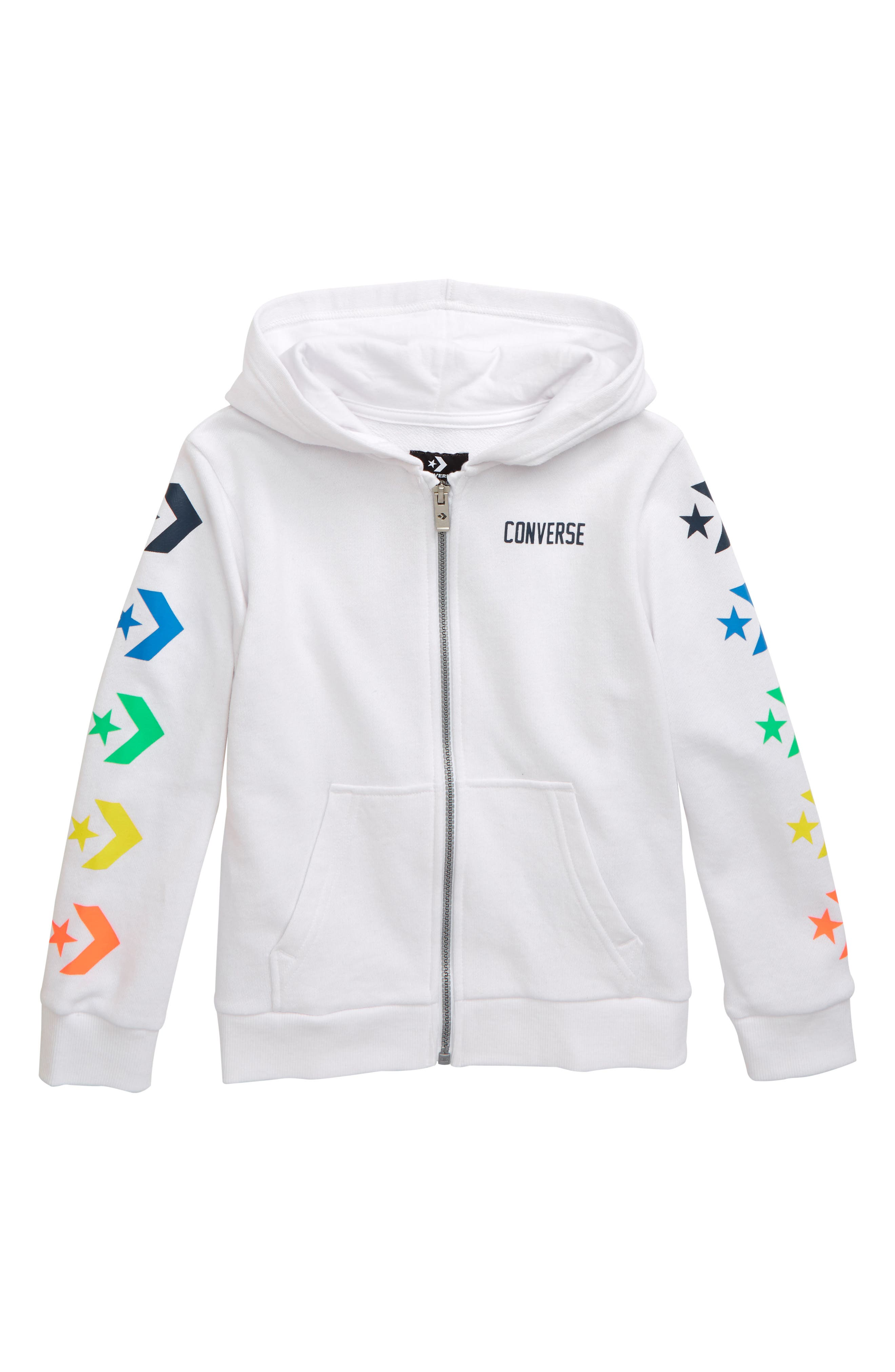 Boys Converse Star Chevron Graphic Zip Hoodie Size S (810y)  White