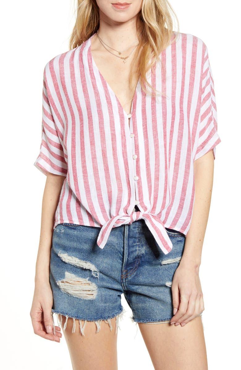 RAILS Thea Tie Hem Shirt, Main, color, CARMINE STRIPE