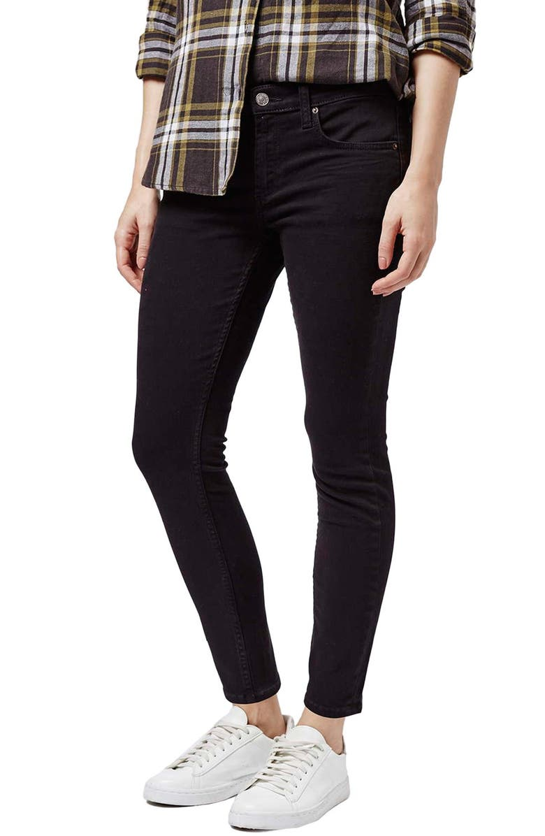 TOPSHOP Moto 'Baxter' Straight Leg Jeans, Main, color, 001