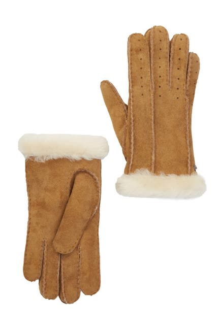 Image of UGG Classic Perforated Genuine Dyed Shearling Gloves