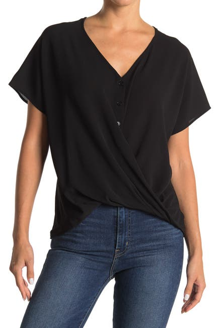 Image of Lush Twist Crossover Short Sleeve Henley Top