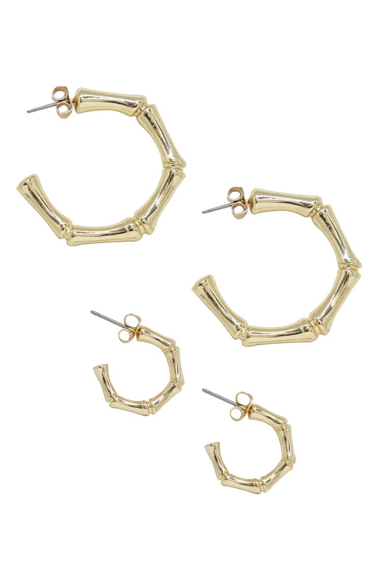 ETTIKA Set of 2 Hoop Earrings, Main, color, GOLD