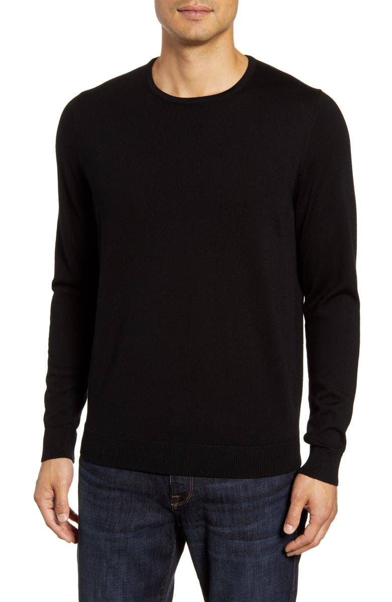 NORDSTROM MEN'S SHOP Crewneck Merino Wool Sweater, Main, color, BLACK CAVIAR