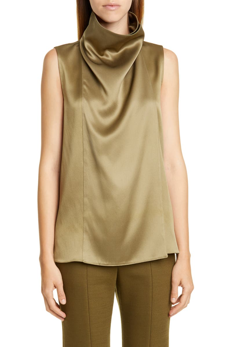 ADAM LIPPES Draped Silk Charmeuse Top, Main, color, LODEN