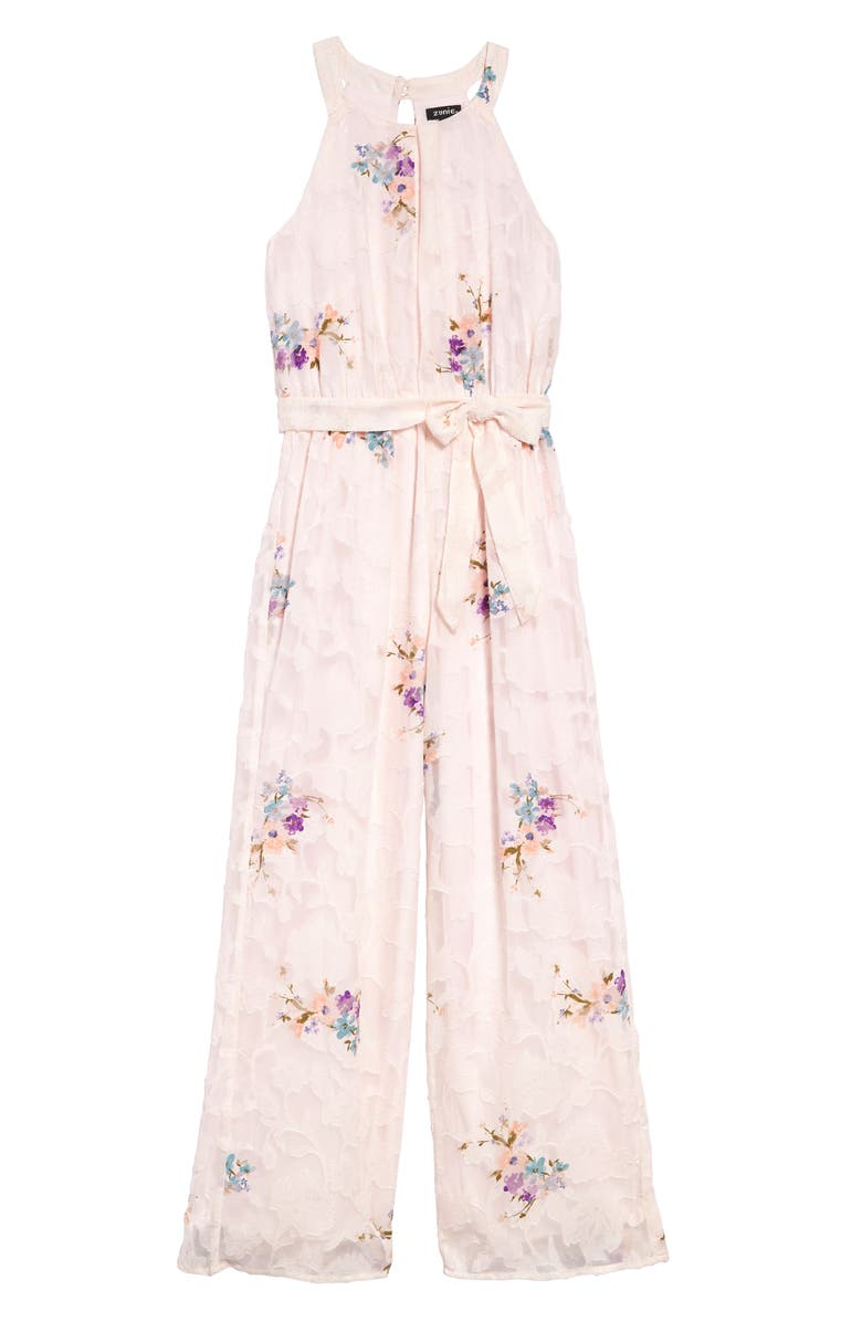 ZUNIE Floral Burnout Chiffon Jumpsuit, Main, color, PINK