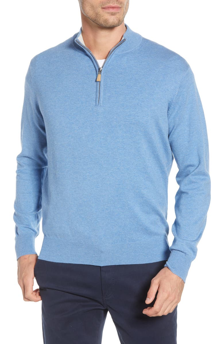 PETER MILLAR Crown Quarter Zip Pullover Sweater, Main, color, LAKE BLUE