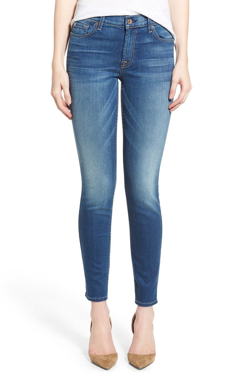 7 FOR ALL MANKIND<SUP>®</SUP> Destroyed Ankle Skinny Jeans, Main, color, 400
