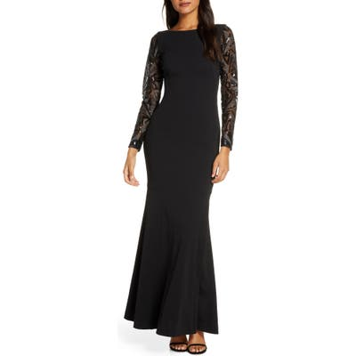 Vince Camuto Sequin Detail Long Sleeve Mermaid Evening Gown, Black