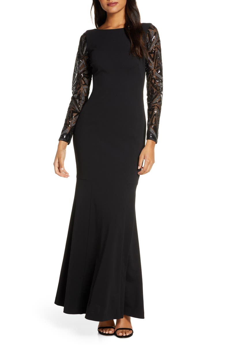 VINCE CAMUTO Sequin Detail Long Sleeve Mermaid Evening Gown, Main, color, BLACK/ SILVER