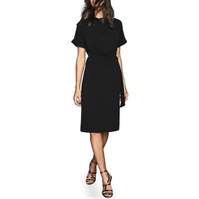 Reiss Lola Cowl Neck Tie Belt Dress, US / 10 UK - Black