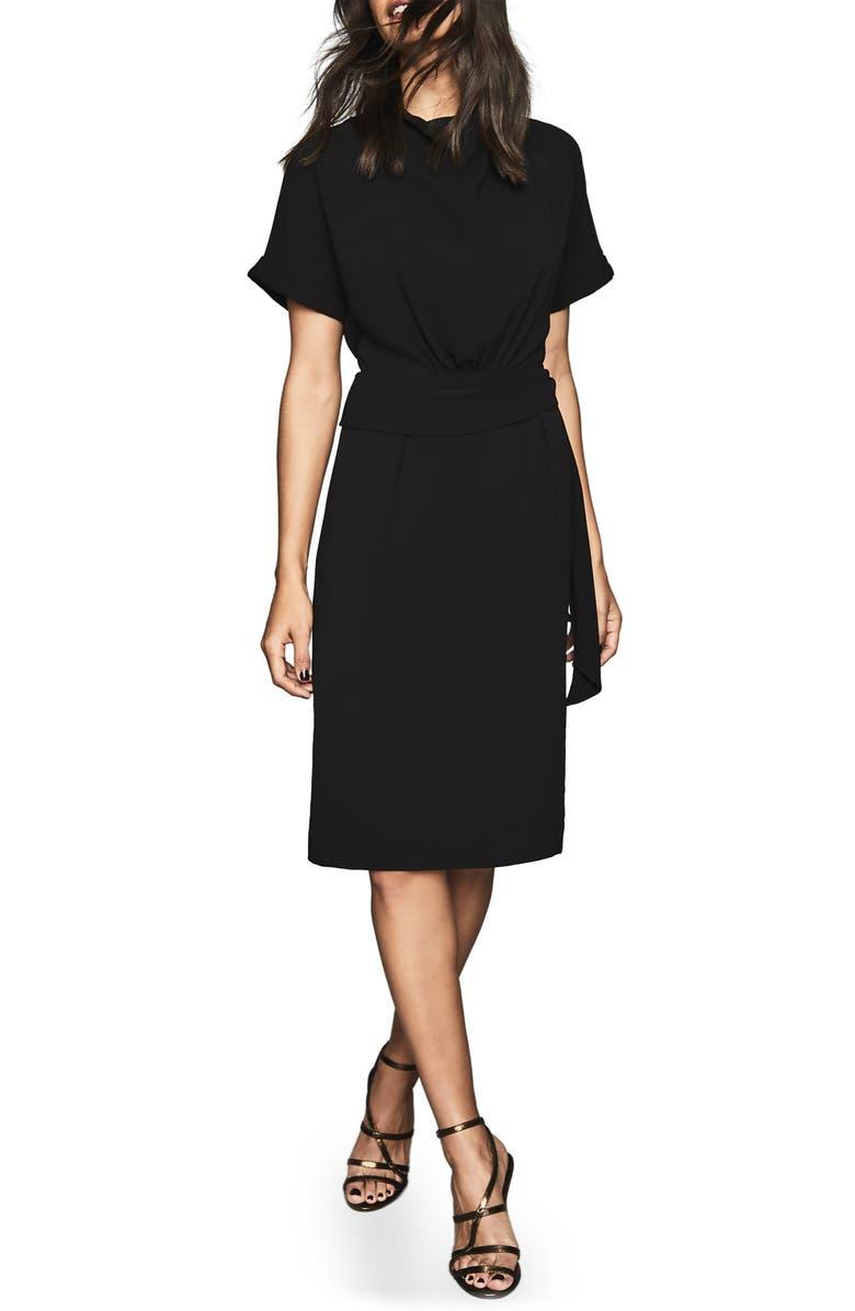 REISS Lola Cowl Neck Tie Belt Dress, Main, color, BLACK