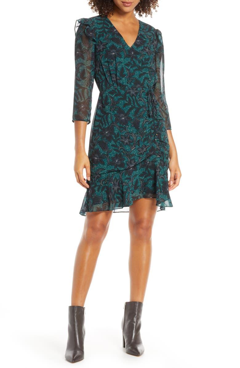 SAM EDELMAN Floral Ruched Chiffon Dress, Main, color, 318