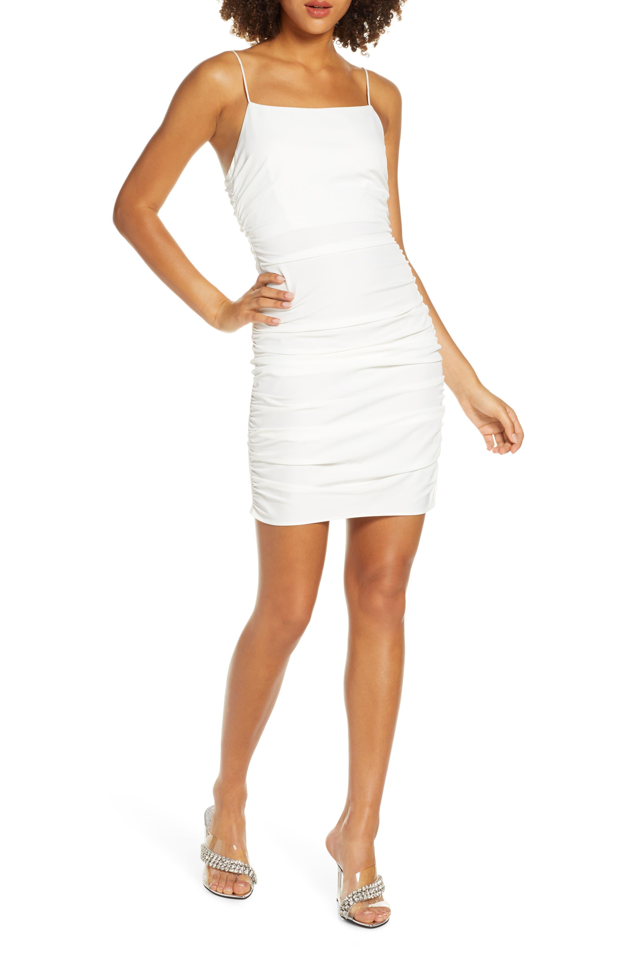 Nsr Alex Ruched Body-Con Minidress, White