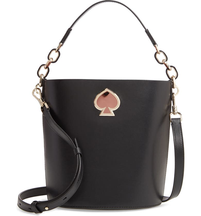 KATE SPADE NEW YORK suzy small leather bucket bag, Main, color, BLACK