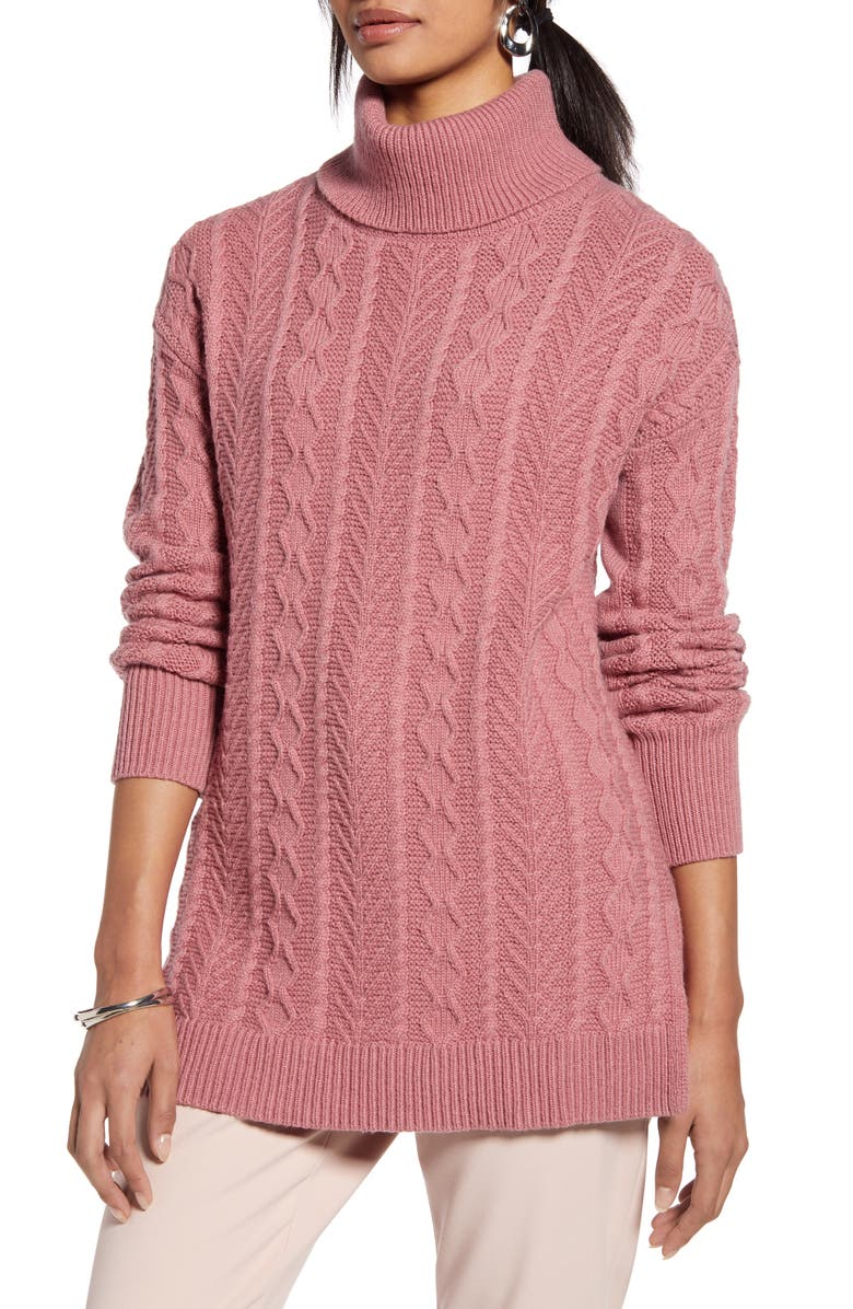 HALOGEN<SUP>®</SUP> Cable Turtleneck Tunic Sweater, Main, color, PINK COMPACT