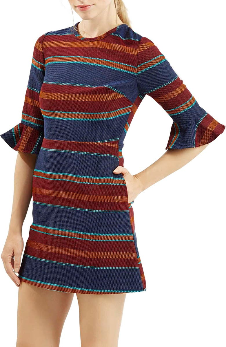 TOPSHOP StripeFluted Sleeve Dress, Main, color, NAVY BLUE MULTI