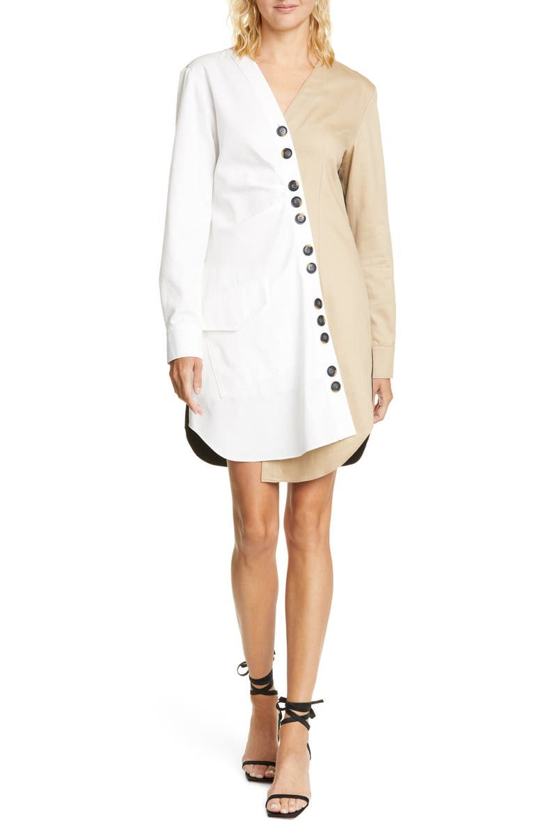 TIBI Harrison Asymmetrical Cotton Shirtdress, Main, color, WHITE/ BLACK/ TAN MULTI