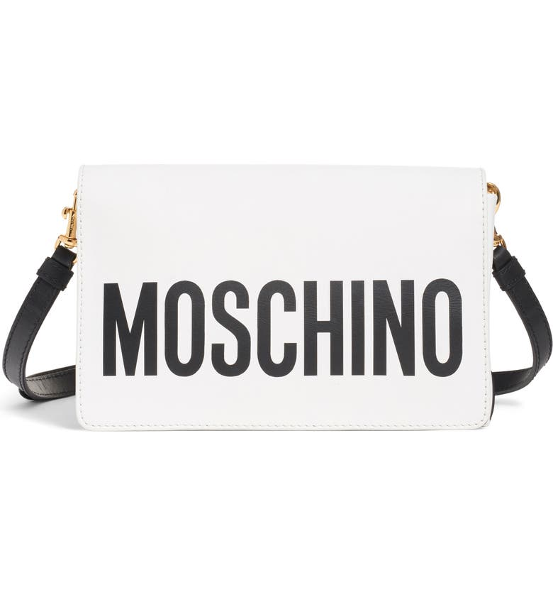 MOSCHINO Logo Leather Crossbody Bag, Main, color, FANTASY PRINT WHITE