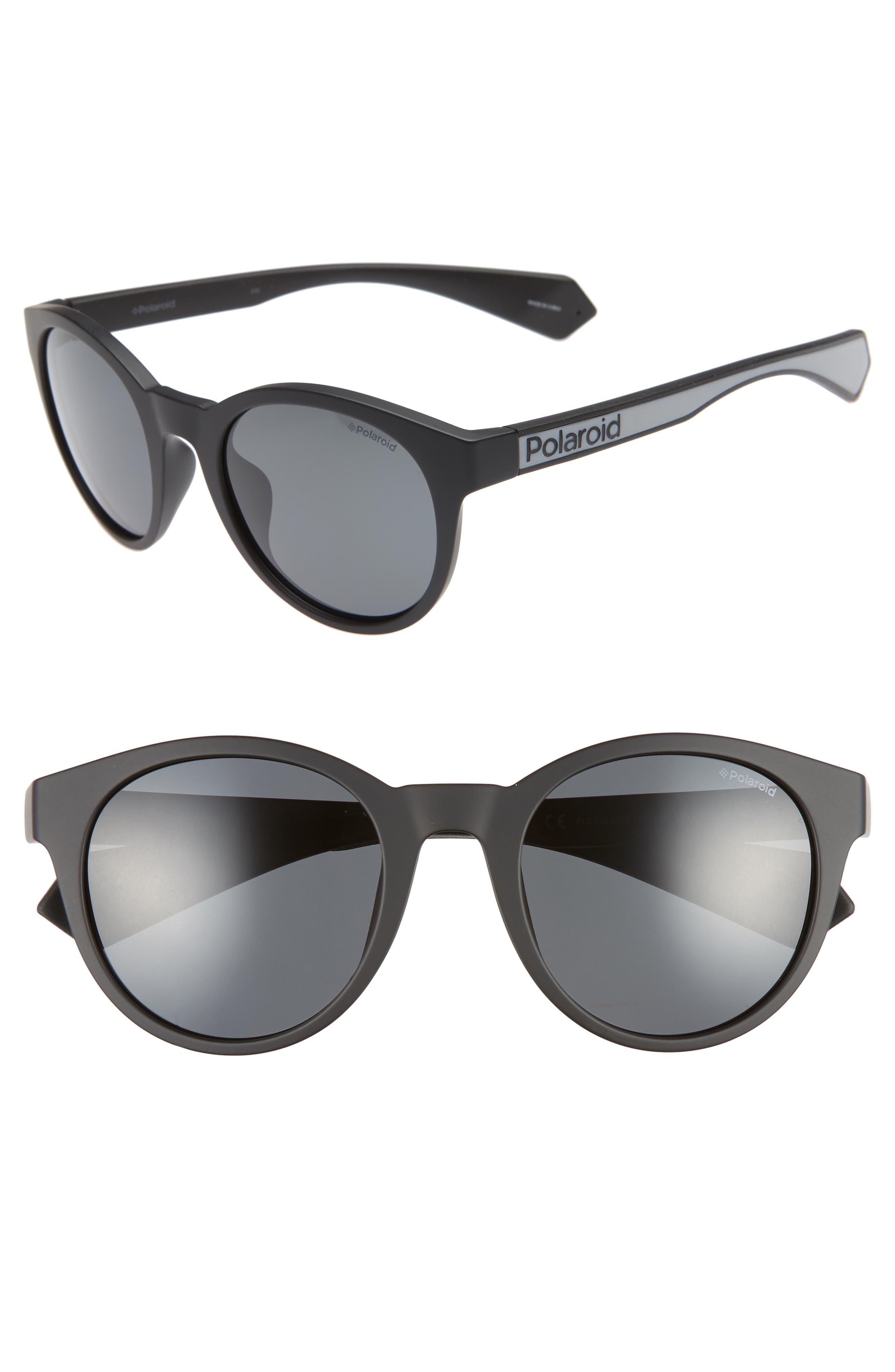 Polaroid 52Mm Polarized Round Sunglasses - Matte Black