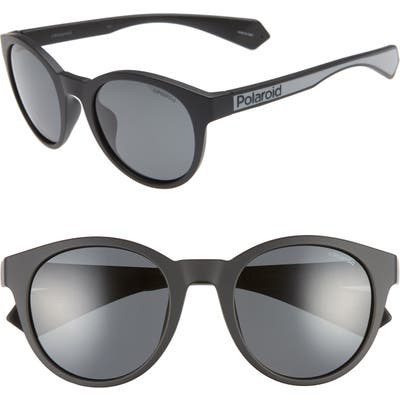 Polaroid 52Mm Polarized Round Sunglasses - Matte Black