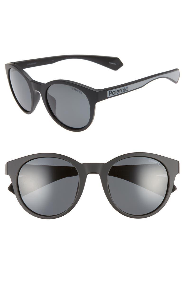 POLAROID 52mm Polarized Round Sunglasses, Main, color, 001