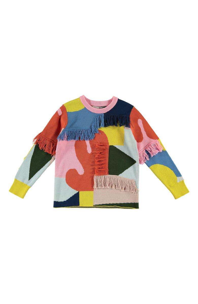 STELLA MCCARTNEY KIDS Colorblock Cotton & Wool Sweater, Main, color, PINK MULTI