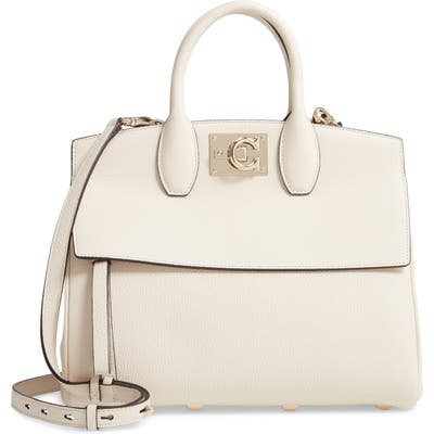 Salvatore Ferragamo The Studio Piccolo Leather Top Handle Bag - White