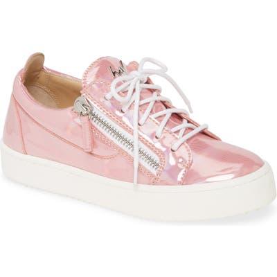 Giuseppe Zanotti Side Zip Low Top Sneaker, Pink