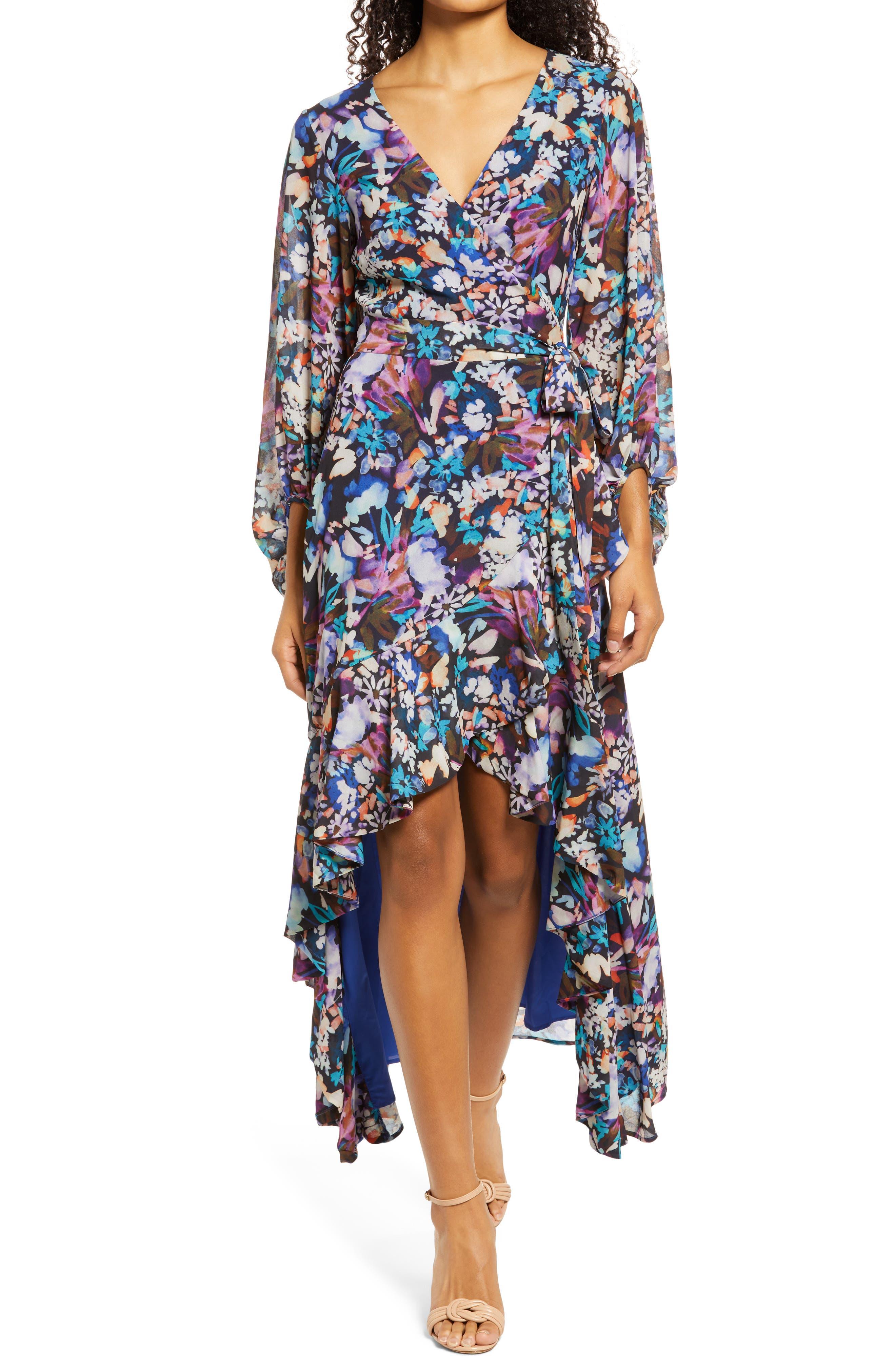 Women's Mark +James Badgley Mischka Floral Long Sleeve High-Low Dress