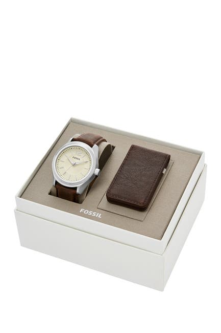 Image of Fossil Men's Editor 3-Hand Quartz Leather Strap Watch, 42mm with Money Clip Set