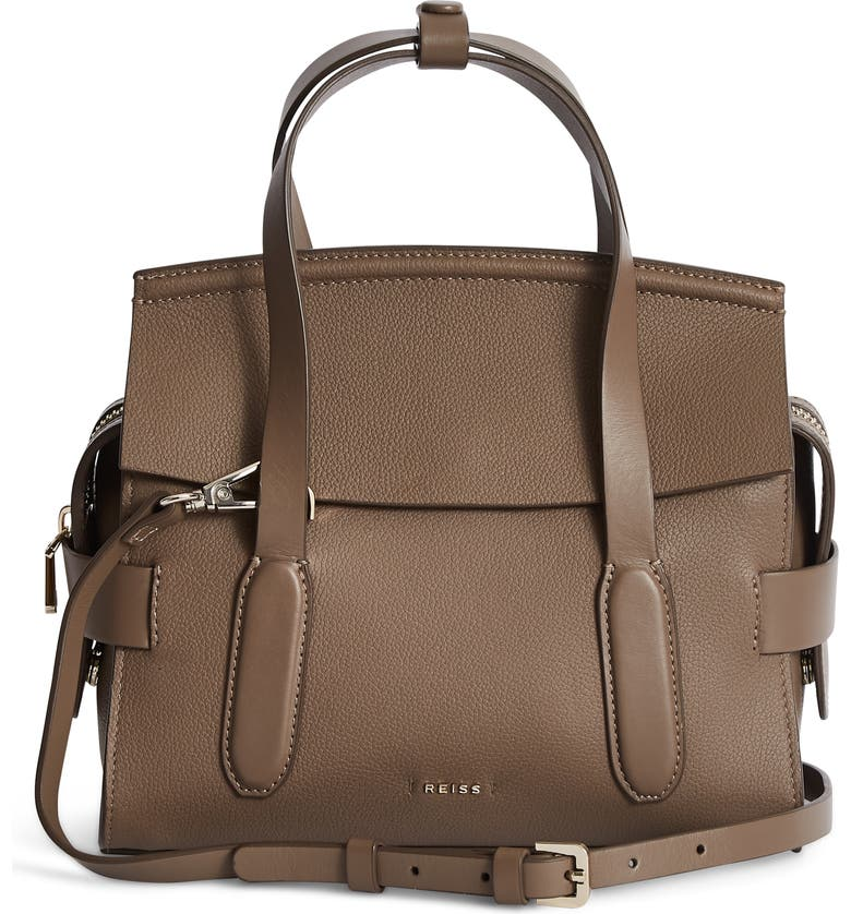REISS Sophie Leather Crossbody Bag, Main, color, 020