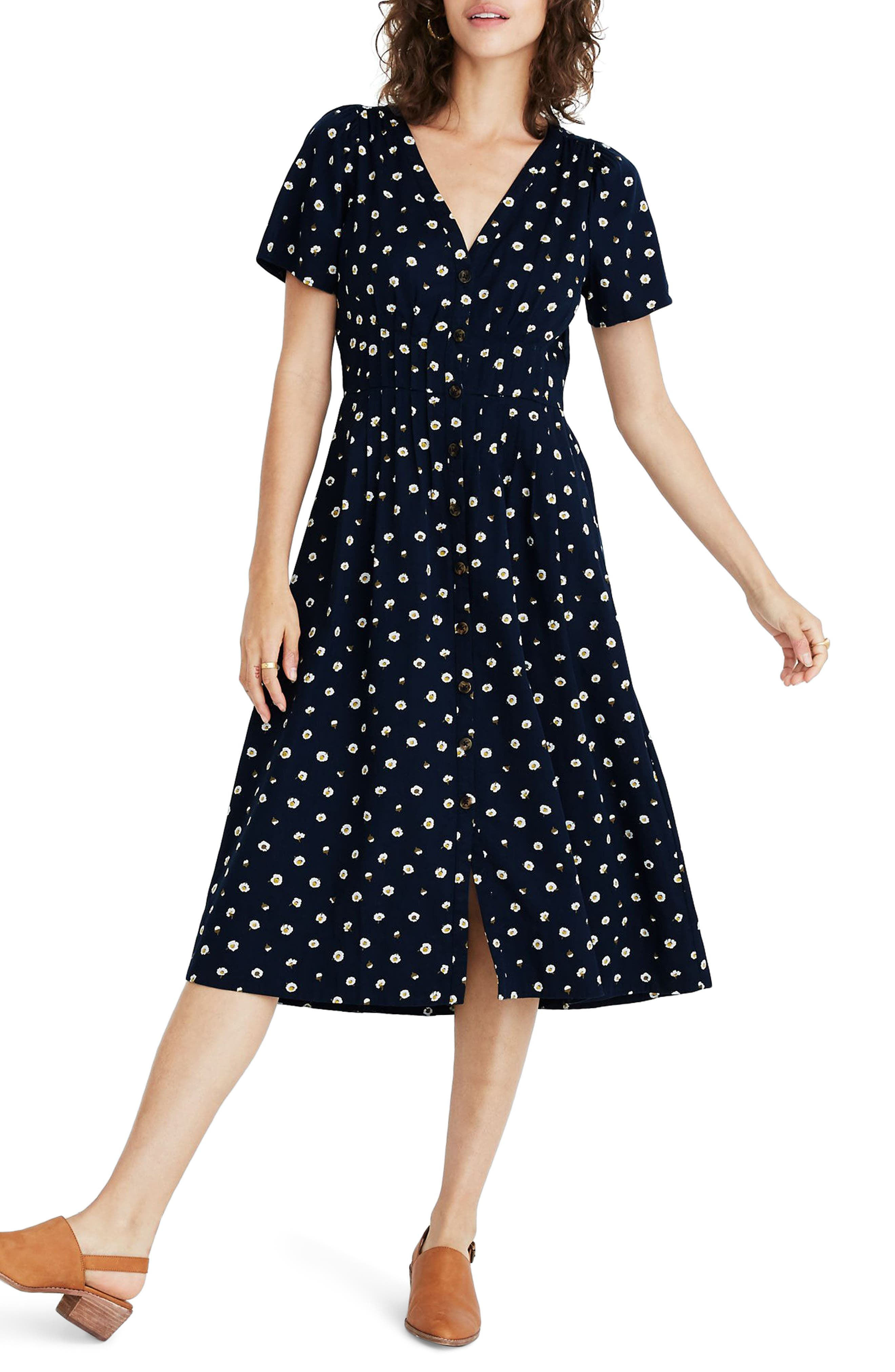 1930s Dresses | 30s Art Deco Dress Womens Madewell Daylily Midi Dress In Daisy Dots Size 18 similar to 16W - Blue $99.99 AT vintagedancer.com