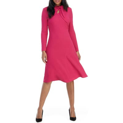 Maggy London Long Sleeve Tie Neck Dress, Pink