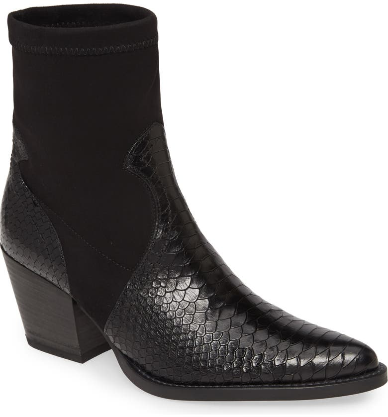 PAUL GREEN Cameron Stretch Shaft Bootie, Main, color, BLACK COBRA COMBO