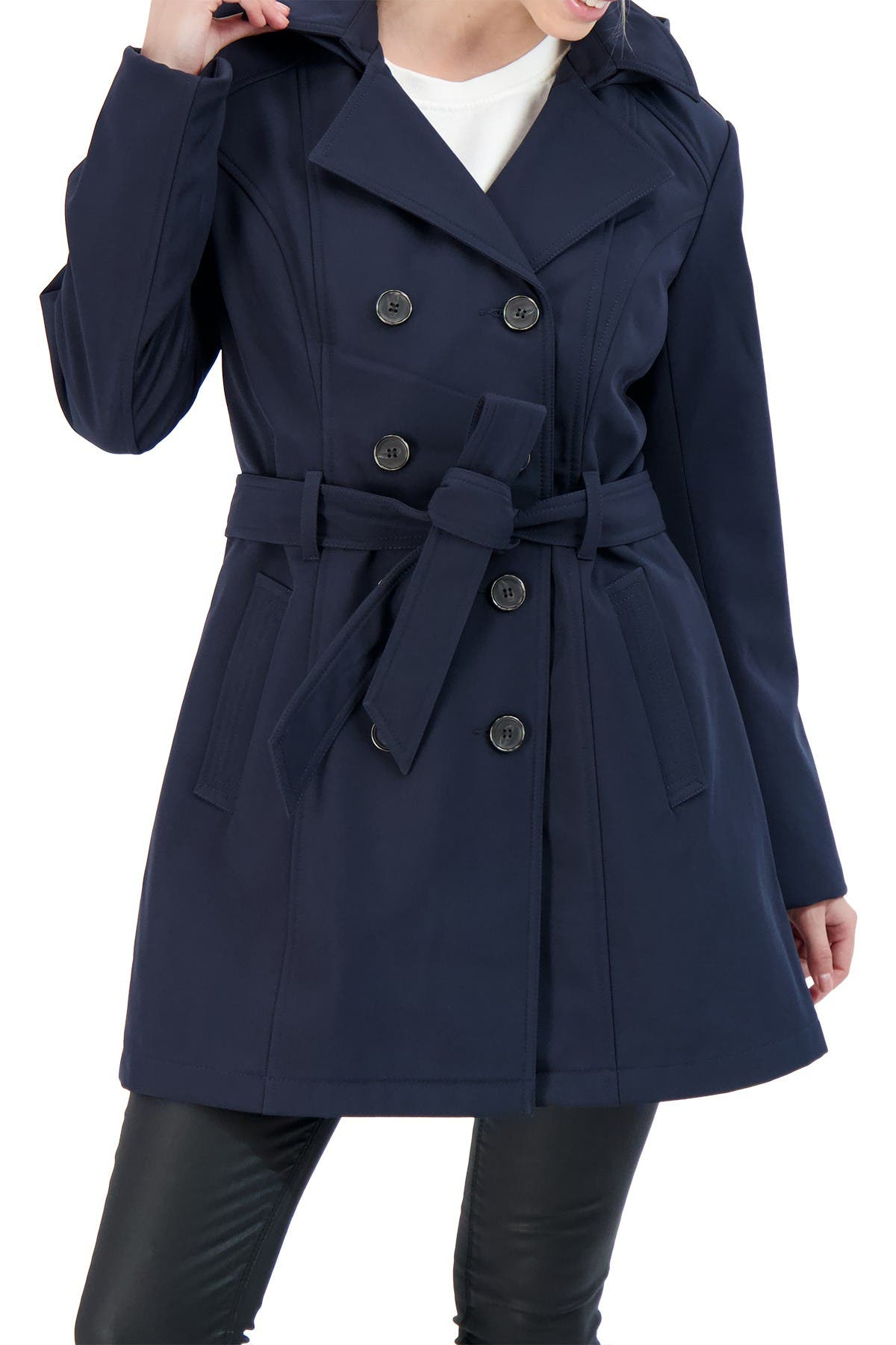Sebby Collection Womens Soft Shell Trench Coat Water Resistant with a Detachable Hood