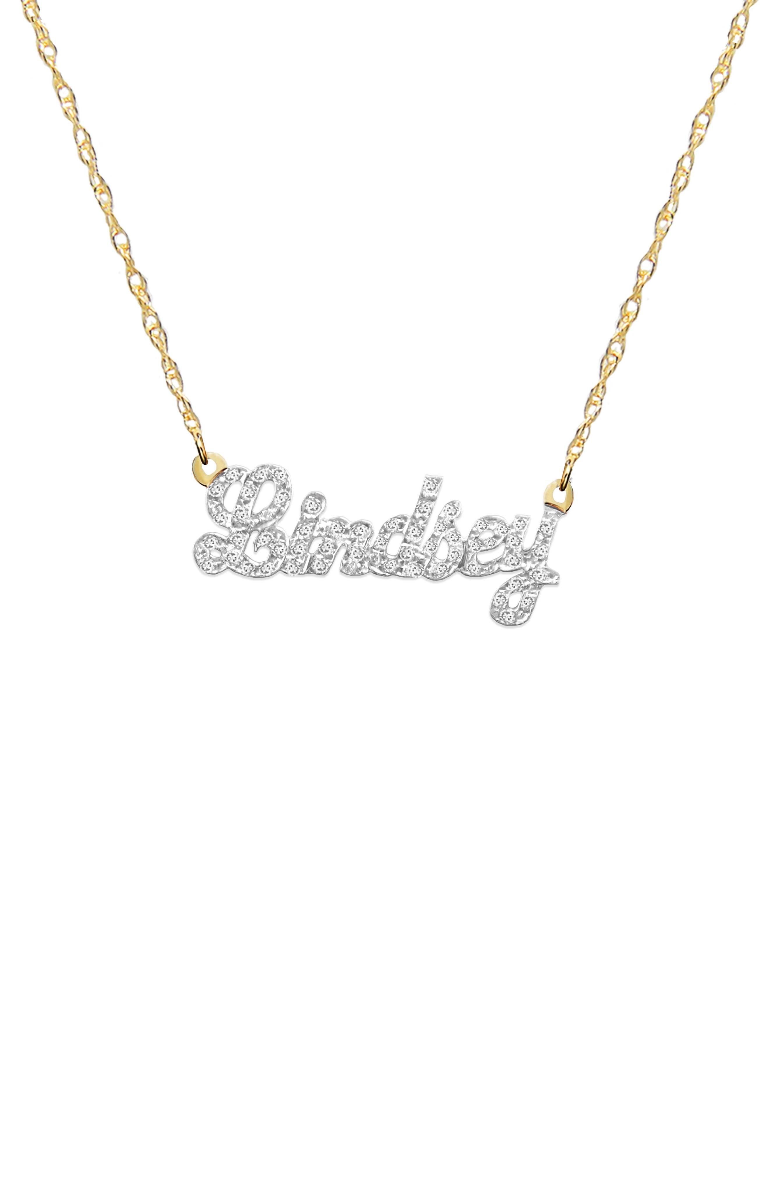 Personalized Nameplate Diamond Pendant Necklace