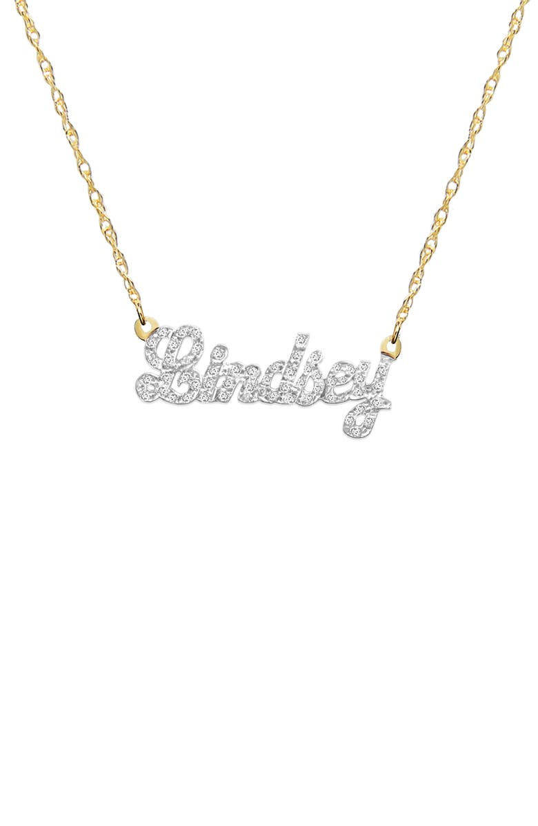 JANE BASCH DESIGNS Jane Basch Personalized Nameplate Diamond Pendant Necklace, Main, color, 14K YELLOW GOLD