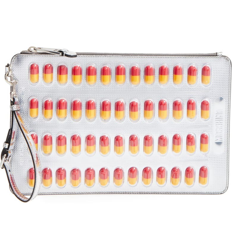 MOSCHINO Capsule Leather Clutch, Main, color, 045