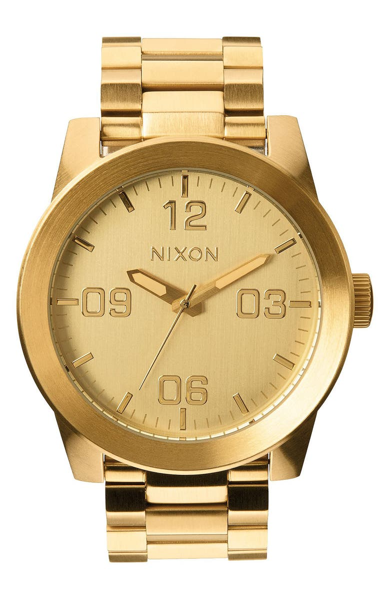 NIXON The Corporal Bracelet Watch, 48mm, Main, color, GOLD