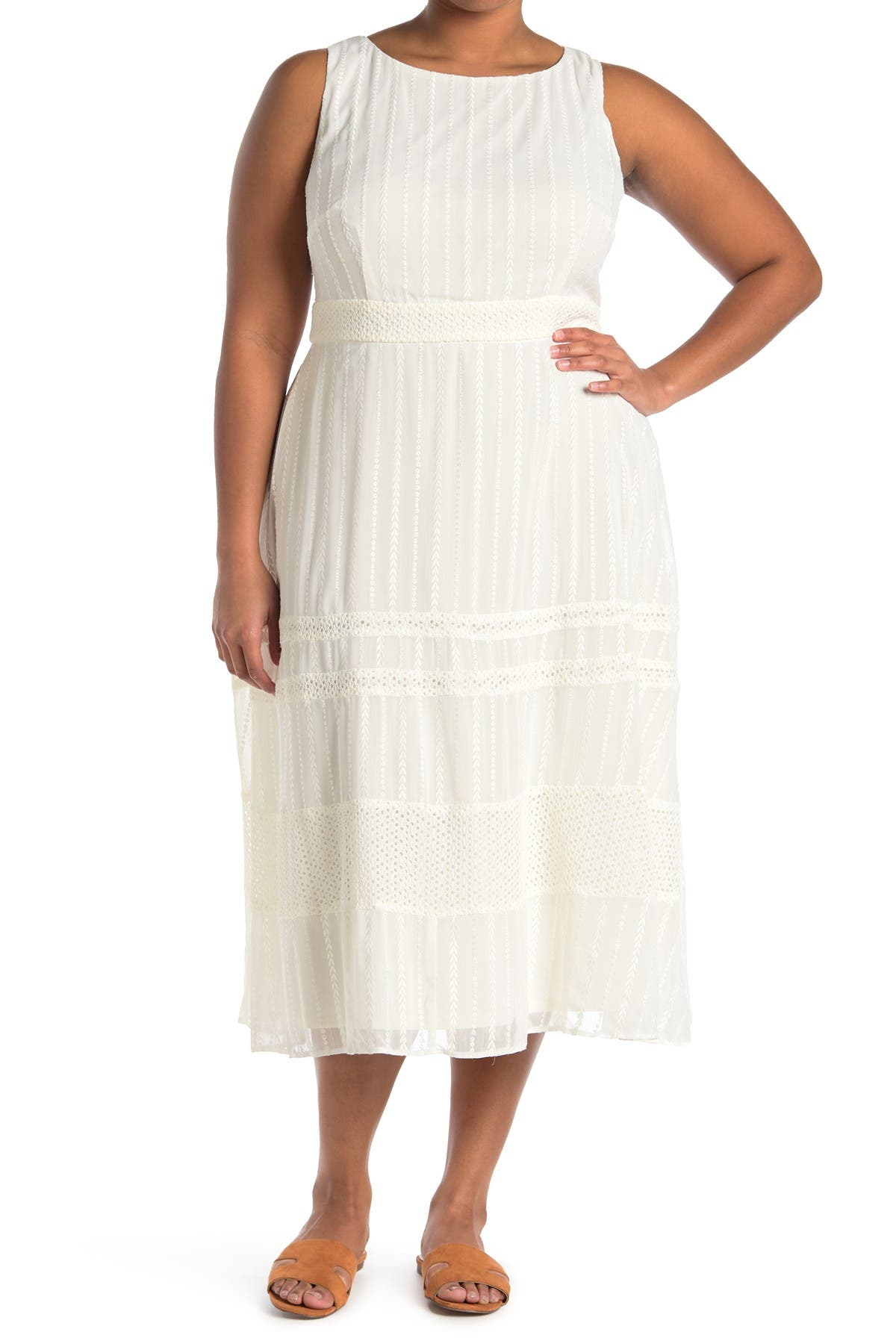 Image of Taylor Embroidered Scoop Neck Midi Chiffon Dress