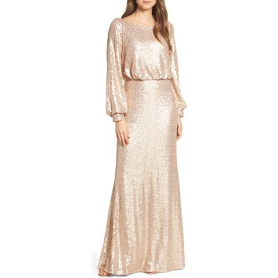 Tadashi Shoji Blouson Long Sleeve Sequin Evening Dress, Beige