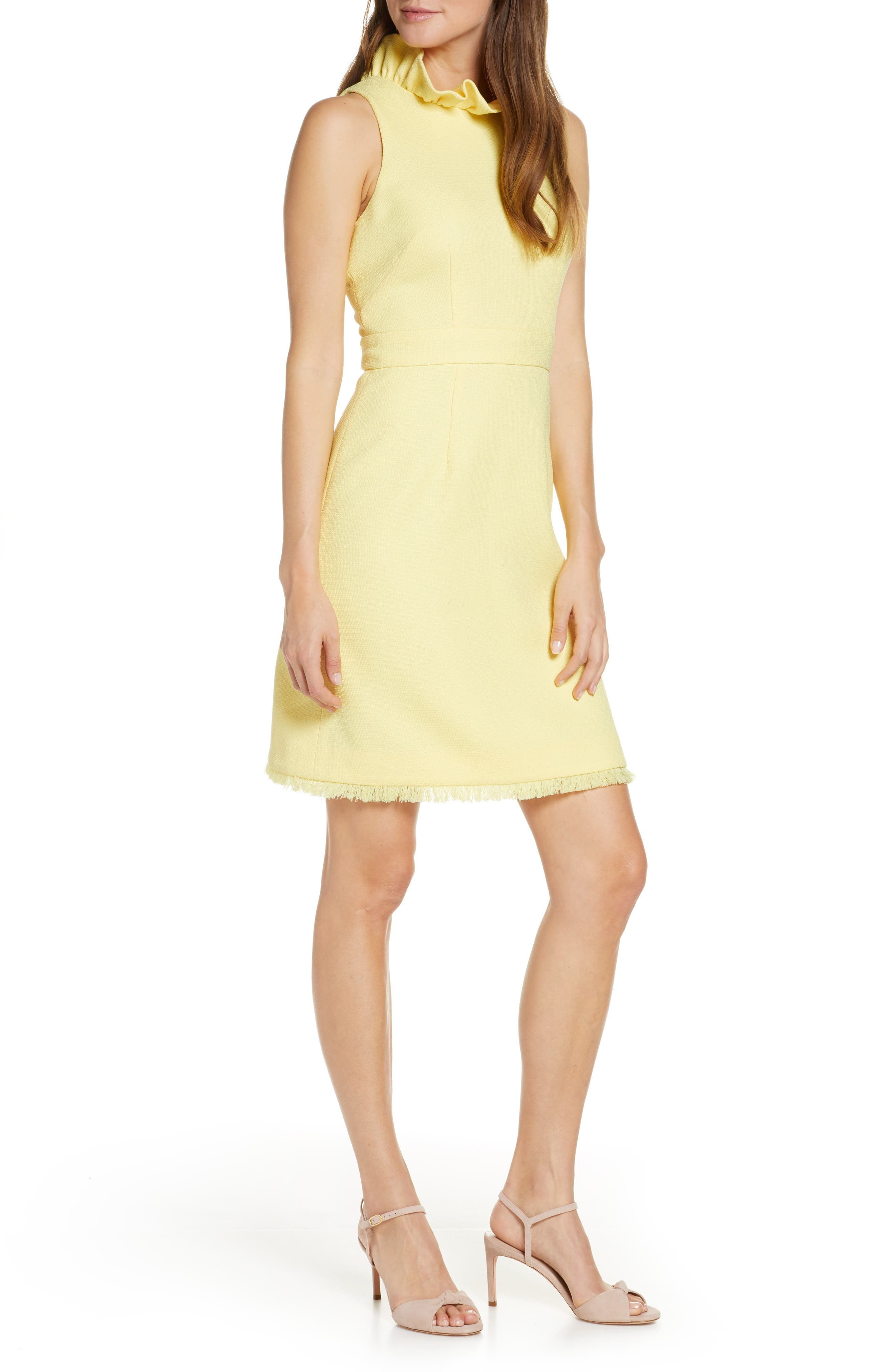 petite Tweed A-Line Dress, Main, color, YELLOW