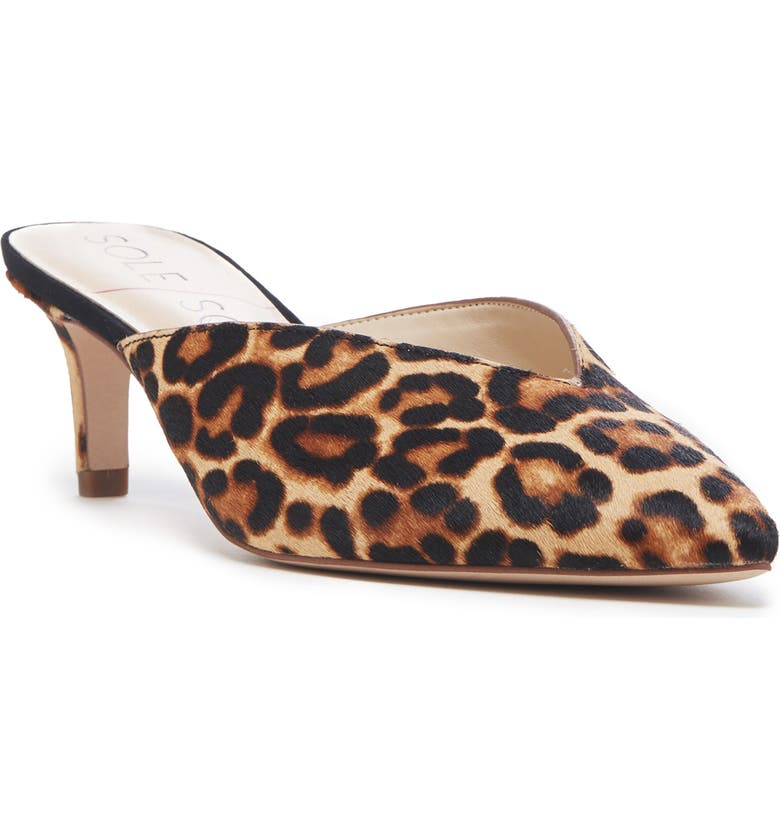 SOLE SOCIETY Maleah Pointy Toe Mule, Main, color, LEOPARD PRINT CALF HAIR