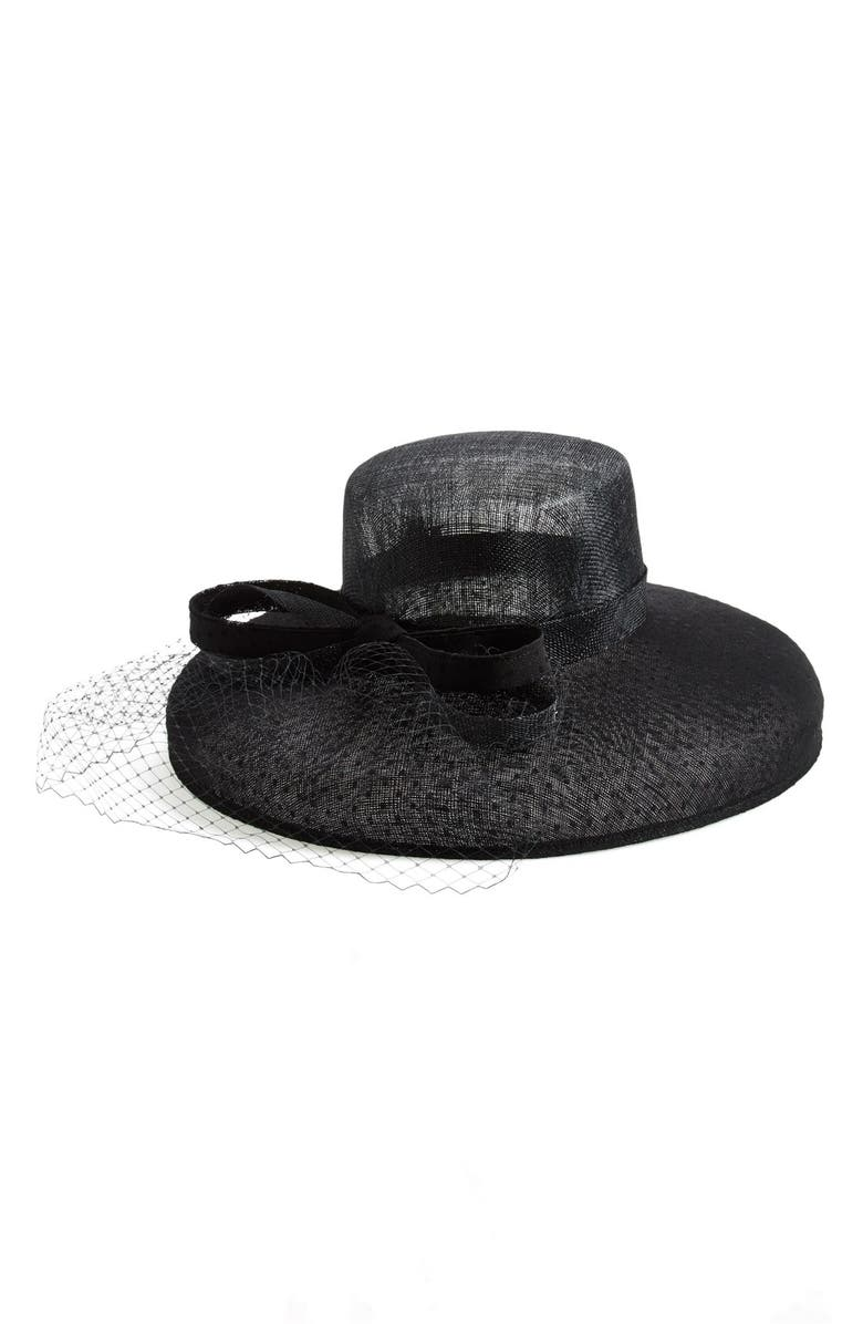 NORDSTROM Sinamay Hat with Point d'Esprit, Main, color, 001