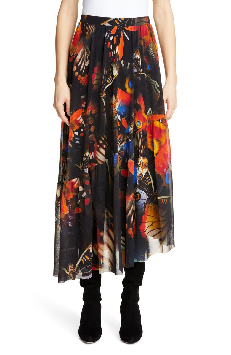 FUZZI Butterfly Print Asymmetrical Midi Skirt, Main, color, ANGOSTURA